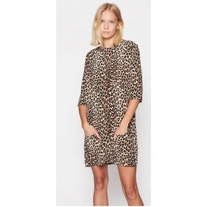 Equipment Aubrey Leopard Silk Shift Dress